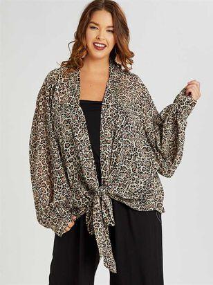 Leopard Tie Front Kimono - A'Beautiful Soul