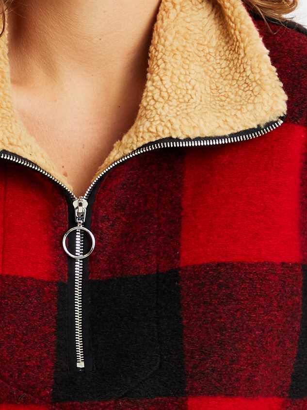 Buffalo Plaid Sherpa Jacket Detail 4 - A'Beautiful Soul