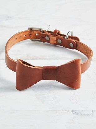 Bear & Ollie's Leather Bow Dog Collar - Large - A'Beautiful Soul