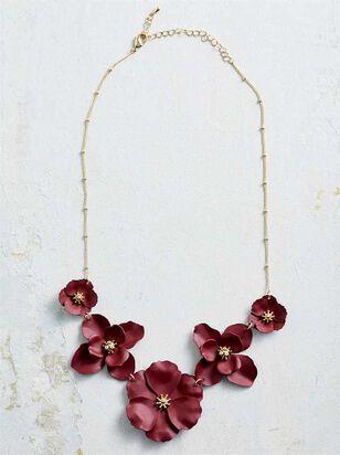 Flower Power Necklace - Burgundy - A'Beautiful Soul