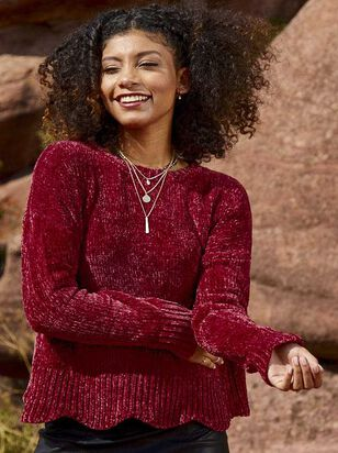 Eversoft Chenille Scalloped Sweater - A'Beautiful Soul