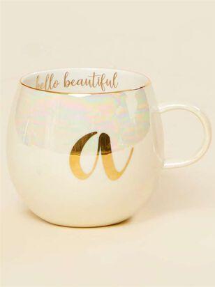 Hello Beautiful Iridescent Monogram Mug - A - A'Beautiful Soul