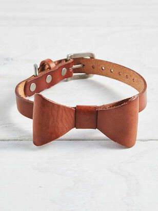 Bear & Ollie's Leather Bow Dog Collar - Medium - A'Beautiful Soul
